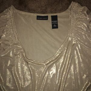 Beautiful Shimmer Gold top with drawstring waist